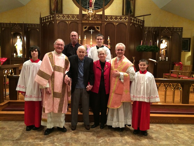A picture with newly welcomed Catholics, Frank & Nettie Bennett